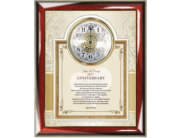 Anniversary Present Poetry Gift Clock Frame Personalized Wedding Poem Anniversary Gift For Him Her Friend Frame