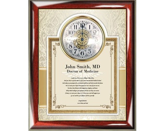Personalized Medical School Graduation Clock Frame Gift Doctor of Medicine Physician Graduate Congratulation Present