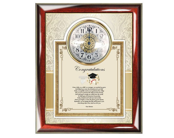 Graduation Gift of Poetry Clock Frame College or High School Graduation Present for Graduate or Student from Parents
