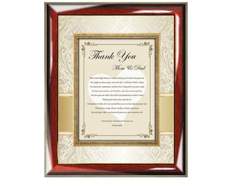 Parents Thank You Poetry Wedding Gift Wall Frame From Groom Son or Daughter Bride Wedding Poem Thanks Mom Dad
