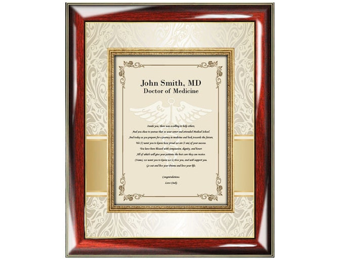 Personalized Medical School Graduation Gift Picture Frame Doctor Physician Congratulation Graduate Poem Photo Plaque