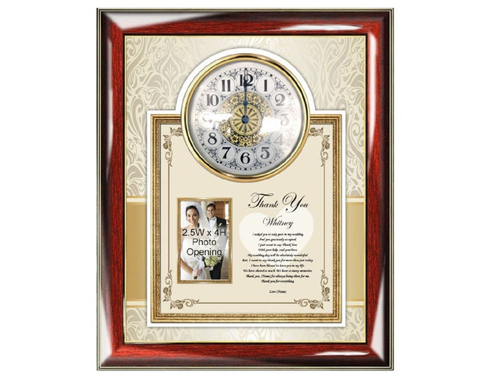Bridesmaid Thank You Poetry Clock Personalized Maid Of Honor Appreciation Present Poem Clock Picture Frame