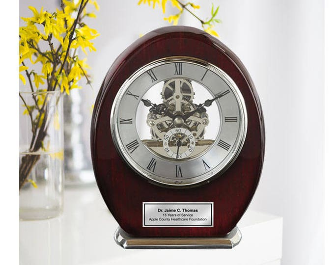 Engraved Oval Beacon Desk Table Clock Wood Silver DaVinci Clock Anniversary Wedding Retirement Service Award Recognition Birthday Gifts