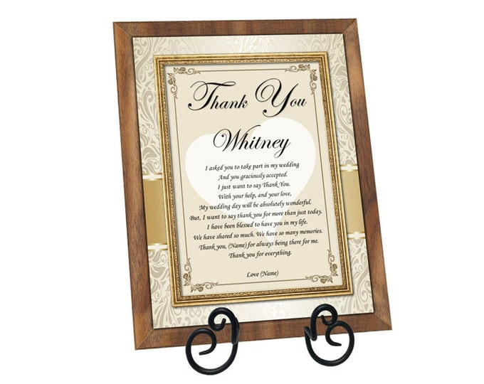 Personalized Bridesmaid Gift Plaque Maid of Honor Wedding Gift Personalized Present from Bride
