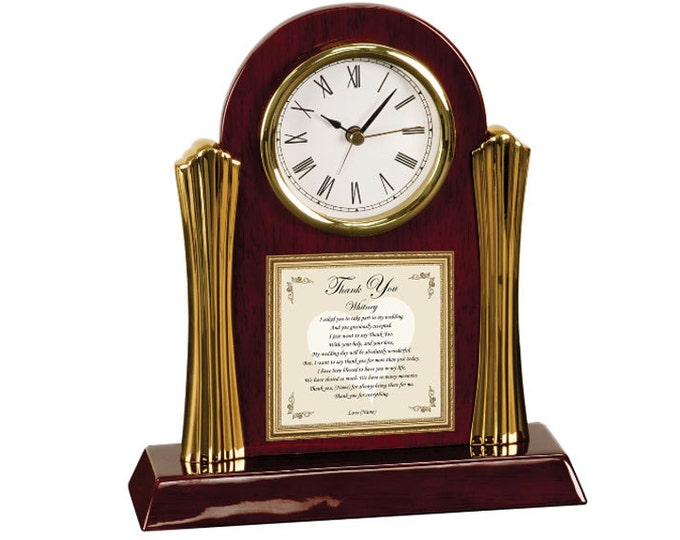 Bridesmaid Gift Personalized Maid of Honor Present Thank You Poetry Cherry Desk Clock Poem Brides Gifts of Poetry