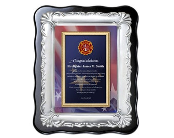 Fire Fighter Graduation Congratulation Poetry Plaque Fireman School Graduate Brush Silver Plaque Firemen Father's Day