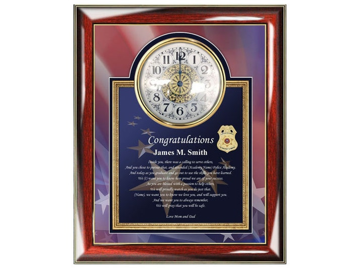 Law Enforcement Graduation Clock Frame Poetry Personalized Sheriff Police Academy Graduation Gifts Present School Graduate