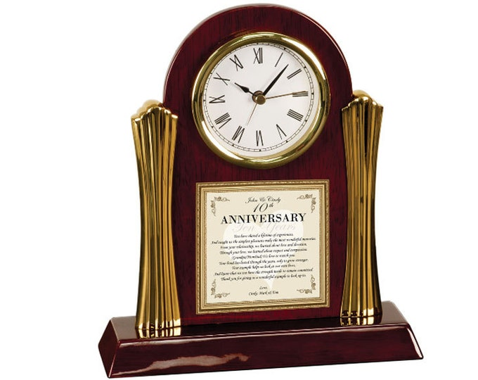 Parents Wedding Anniversary Poetry Cherry Desk Clock Personalized Mother Father Present Congratulation Engrave Clock