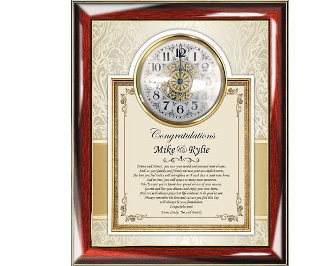 Traditional Housewarming Congrats Clock Frame Personalized New House Gifts Home Sweet Home Present Plaque Poem