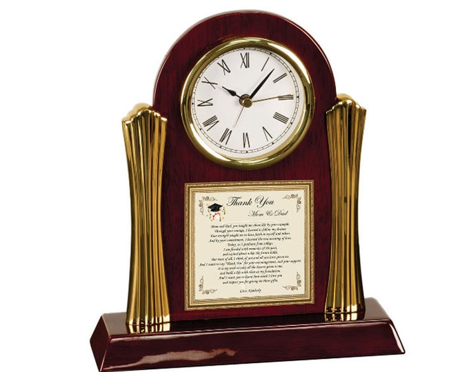 Thank You Parents Family Friends Graduation Supportive Poetry Cherry Clock Gift Present School Support
