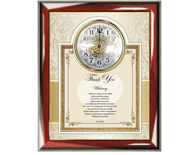 Bridesmaid Poetry Gift Clock Frame Personalized Maid of Honor Present from Bride Thank You Poem Plaque