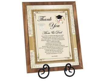 Thank You Mom Dad Family Graduation Poetry 8x10 Walnut Plaque Education School Support Present Parents