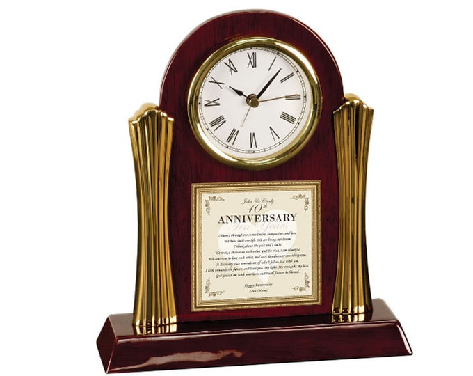 Personalized Anniversary Gift Poetry Cherry Desk Clock Love Poem Romantic Gift Husband Wife Girlfriend Boyfriend Wedding