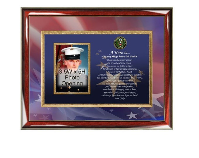 Army Gift Picture Frame Photo Plaque Military Homecoming Discharge Retirement Poetry Present Photo Frame