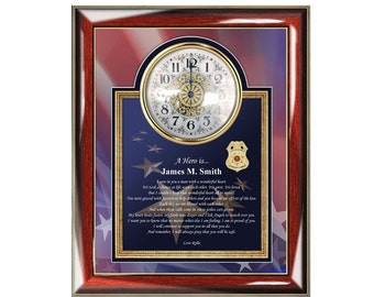 Police Sheriff Retirement Promotion Birthday Gift of Poetry Clock Frame Law Enforcement Present Clock Frame