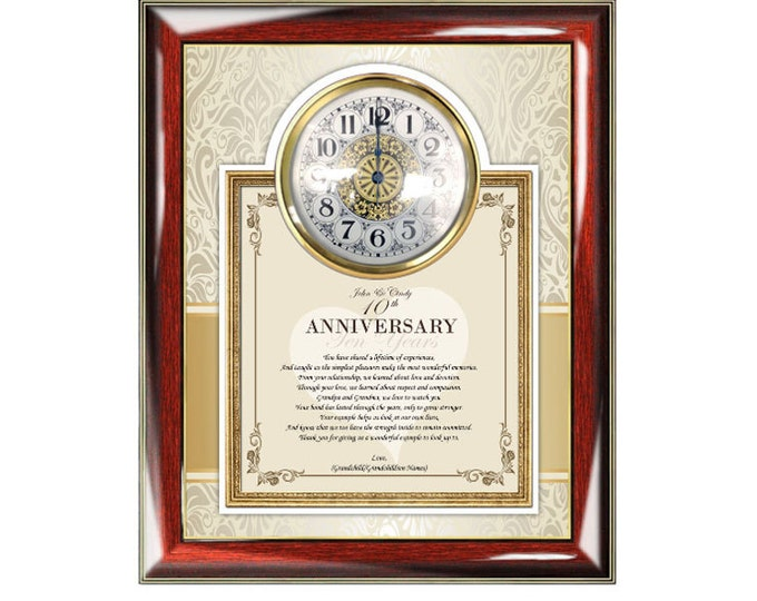 Personalized Wedding Anniversary Poetry Clock Frame for Parents Mom Dad Congratulations Present Clock Poem