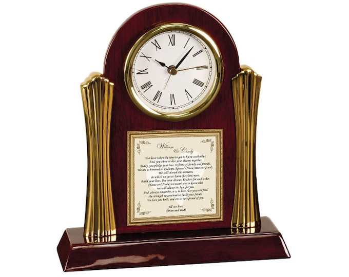 Wedding Present to Daughter or Son from Parents Clock Personalized Wedding Day Gift to Bride Groom from Mother Father