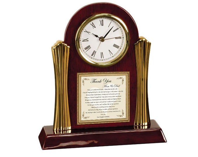 Personalized Wedding Thank You Parents Poetry Cherry Desk Clock Bride Groom Poem Gift Clock for Mom Dad Mother Father