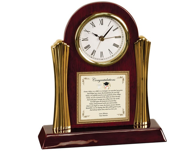 Poetry Cherry Desk Clock Graduation Gift from Parents - Congratulation Grad Present Engrave Clock Poem Poetry Mom and Dad