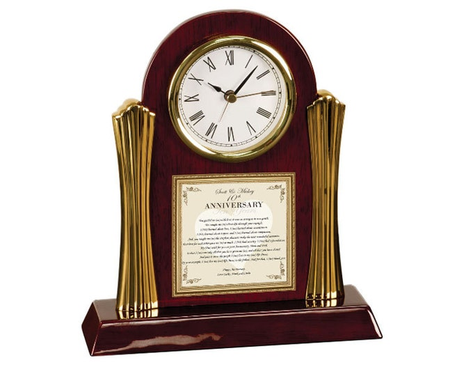 Personalized Poetry Cherry Desk Clock Parents Anniversary Gift Mother Father Congratulation Wedding Anniversary Present