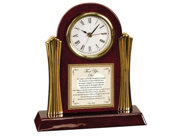Thank You Father Poetry Cherry Desk Clock Father's Day Birthday Present Appreciation Dad Son Present Gift Daughter