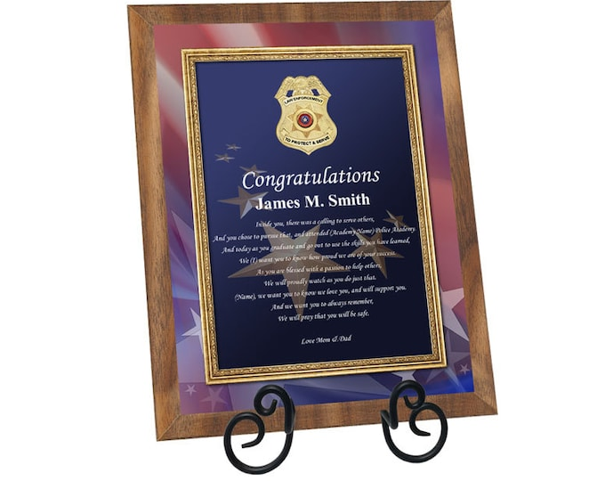 Law Enforcement Graduation Plaque Poetry Personalized Sheriff Police Academy Graduation Gifts Present for Officers Deputy
