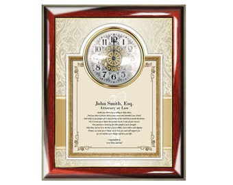 Gifts for lawyer and attorney law school graduation poem clock frame college of law graduate passing bar