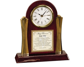 Retirement Congratulation Coworker Colleague Boss Gift Poetry Cherry Desk Clock Friend Retirement Poem Present