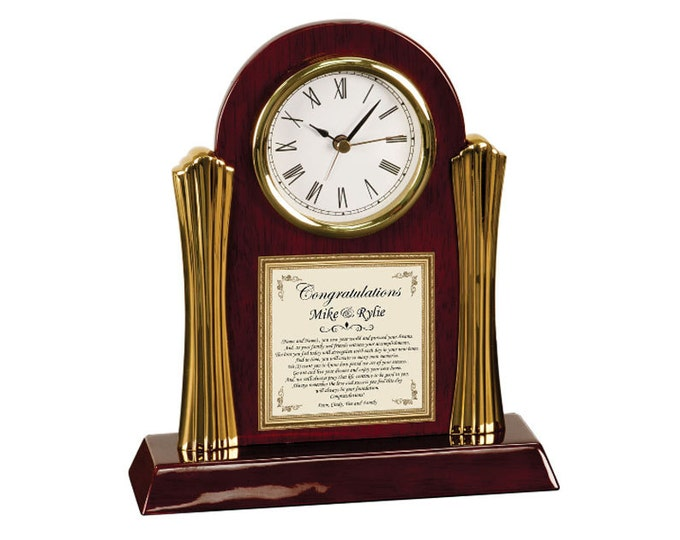 Personalized Housewarming Poem Clock Traditional Gifts Cherry Clock Poetry Housewarming Gift New Home House Present