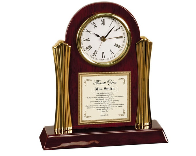 Gifts for Teachers Educators Professors Preschool Mentor Personalized Thank You Poem Clock Present