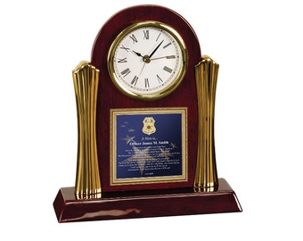 Law Enforcement Poetry Cherry Desk Clock Gift Police Sheriff Present Love Husband Boyfriend Wife Promotion Retirement Present