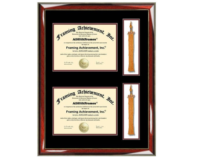 Double Graduation Tassel Box Two Diploma Frame with Dual Degree College University Document Framing Tassle Holder Case Plaque Shadowbox