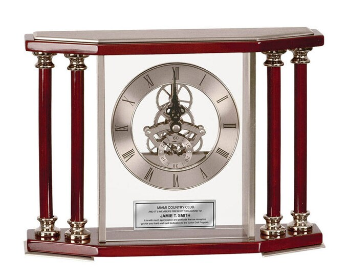 Engraved Table Desk Clock Four Column Silver Da Vinci Dial with Engraved Plate. Wedding Anniversary Gift Retirement Service Award Coworker