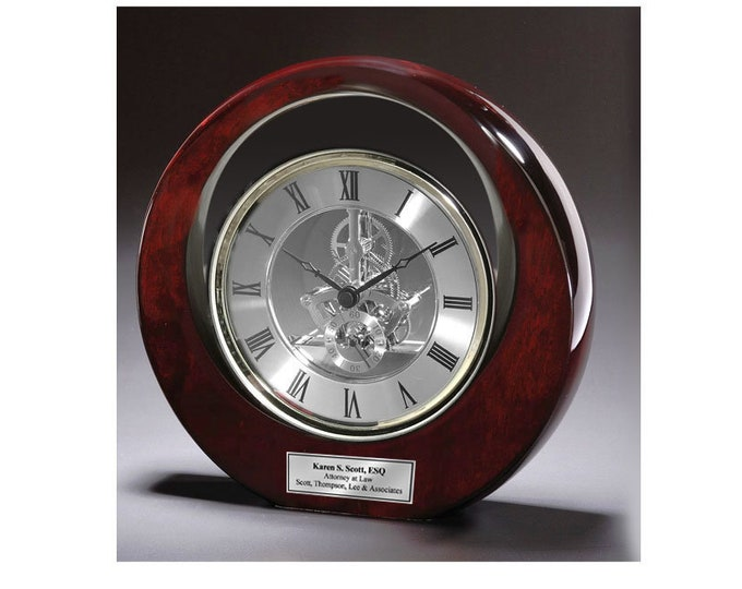 Personalized Engraved Silver DaVinci Eclipse Dark Cherry Desk Clock Service Award Wedding Anniversary Retirement Coworker Boss Colleague