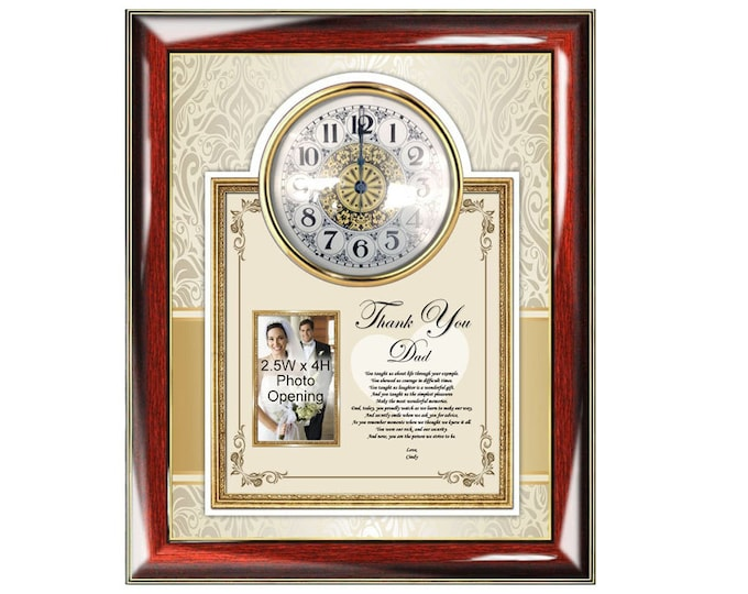 Personalized Thank You Dad Poetry Clock Picture Frame Father Present Photo Frame Plaque