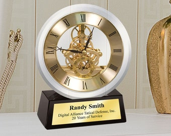 Round Moon Crystal Da Vinci Moving See Through Gear Clock Black Crystal Base Gold Personalized Engraving Employee Service Retirement Gift