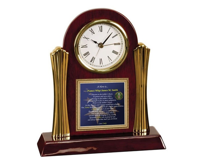 Military Poetry Army Gift Us Army Discharge Homecoming Cherry Desk Clock Retirement Present Poem Military Veteran