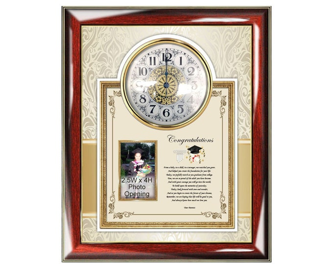 College High School Graduation Gift Poetry Clock Frame from Parents or Mom Dad to Graduate Congratulation Personalized Poem