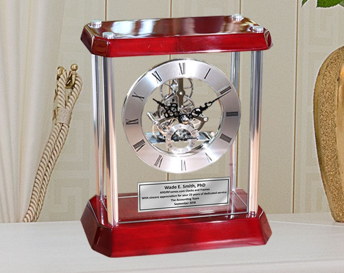 Personalized Silver Column Gear Dial Clock Encased Glass Cherry Base Engrave Executive Retirement Gift Wedding Anniversary Promotion Award