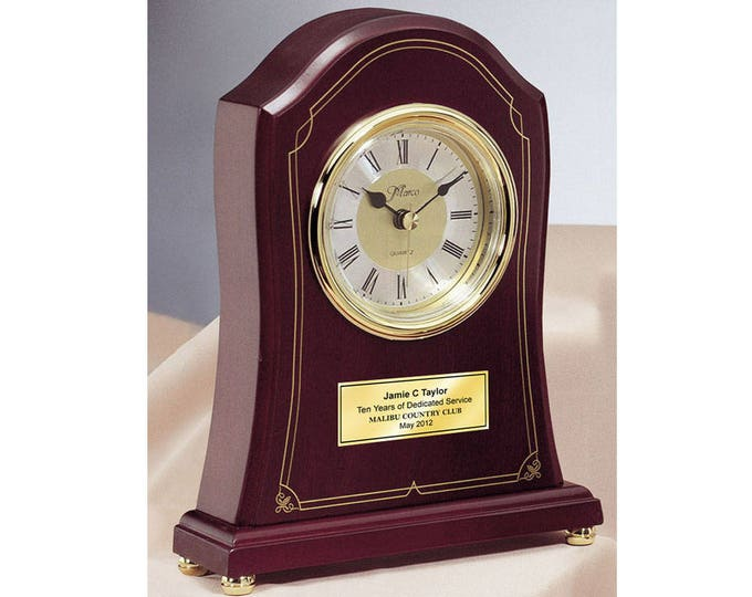 European Rosewood Engraved Desk Clock with Gold Engraving Plate Recognition Award Wedding Anniversary Birthday Retirement Present Gift