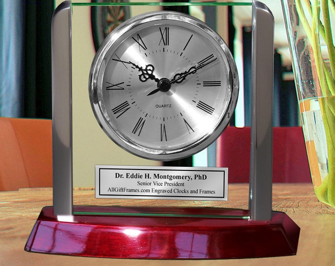 Engraved Employee Recognition Retirement Desk Clock Metal Accents Glass Panel Cherry Wood Ornamental Timepiece Needle Birthday Wedding