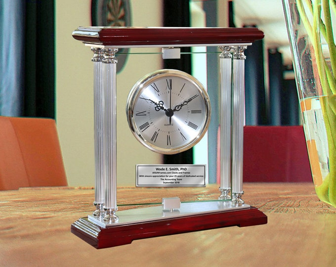 Silver Pillars 360 Degree Spinning Glass Personalized Clock Ornamental Time Needle Engraved Employee Coworker Retirement Wedding Gift