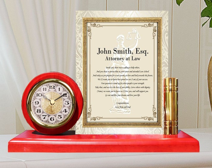 Congratulation Law School Graduation Gift Poem Metal Gold Desk Clock Plaque Frame Lawyer Attorney Juris Doctor Esquire ESQ University