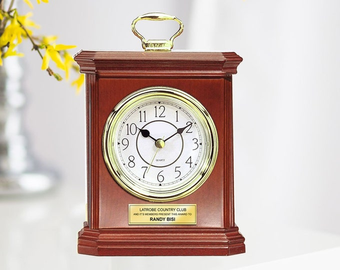 Engraved Wood Desk Clock Carriage Gold Handle with Gold Engraving Plate. Unique Retirement Gift Wedding Anniversary Employee Service Award