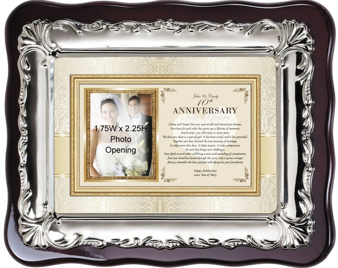 Personalized anniversary picture frame gift for friends or from parents. Unique Happy Anniversary photo frame plaque