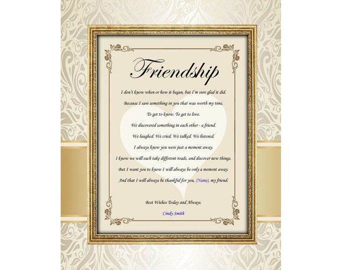 Personalized Poetry Friendship Poem Unframed 11x14 Matted Best Friends Poem Birthday Present
