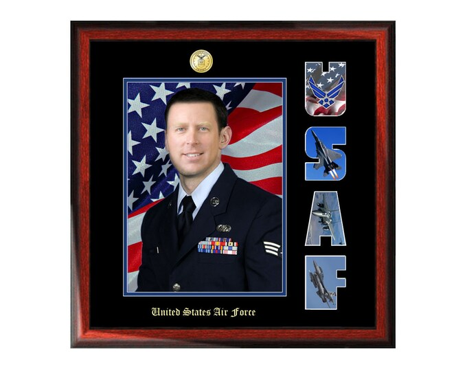 USAF Picture Frame United States Air Force Collage Letter Military Wall Photo Plaque Soldier Promotion Retirement Serviceman Veteran Airman