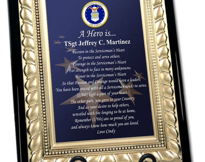 Military Gift USAF Plaque Poem For Retirement Discharge Going Away Homecoming Personalized Air Force Gold Metal Designer Border