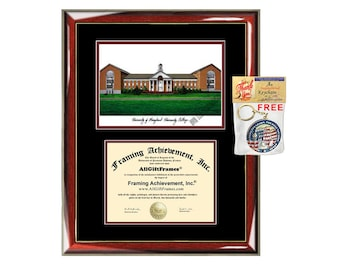 University of Maryland University College diploma frames lithograph frame UMUC campus image sketch framing graduation degree gift plaque