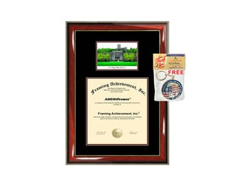 US Military Academy diploma frame lithograph West Point campus image certificate degree frames framing gift graduation plaque college case